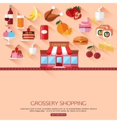 Grossery shopping concept background with place vector
