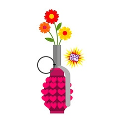 Hand grenade with hearts Army equipment Pink vector image vector image