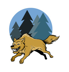 jumping wolf and pine trees vector image vector image
