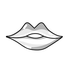 Line sexy girl lips with fashion makeup vector