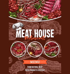 meat menu sketch banner for barbecue restaurant vector image vector image