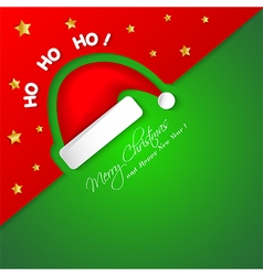 Merry Christmas card with Santa hat vector image
