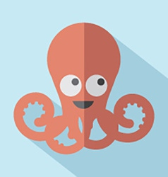 Modern flat design octopus icon vector