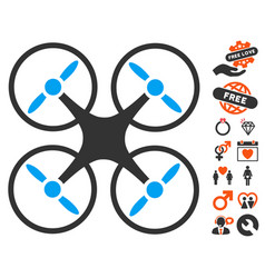 nanocopter icon with lovely bonus vector image