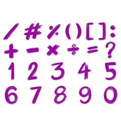 numbers and signs in purple color vector image vector image