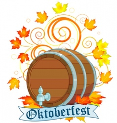 Oktoberfest design with keg vector image vector image