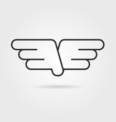 outline wings icon with shadow vector image vector image