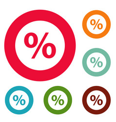 Percent sign icons circle set vector