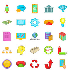 remote server icons set cartoon style vector image