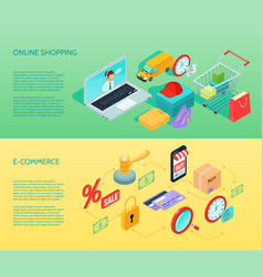 shopping ecommerce banner horizontal isometric vector image