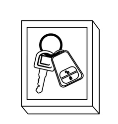 Silhouette rectangle button with keys and keychain vector
