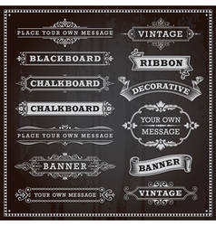 Vintage banners frames ribbons chalkboard style vector