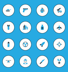 Warfare colorful icons set with artillery bullet vector