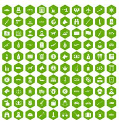 100 smuggling icons hexagon green vector