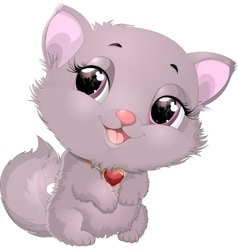 Beautiful gray kitten with heart vector