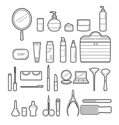 Cosmetics and beauty icons set monochrome vector