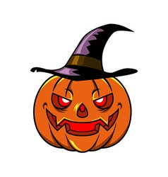 Pumpkin and witch hat vector