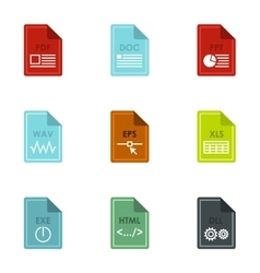 Kind of files icons set flat style vector