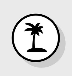 coconut palm tree sign  flat black icon in vector image