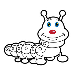 Larva worm cartoon a bug life coloring page for t vector