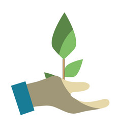 Hand with plant to planet conservation vector