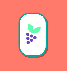 Paper sticker on stylish background grapes with vector