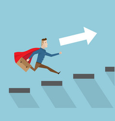 Businessman with red cape running on stairs vector