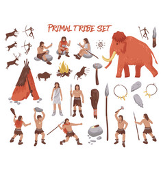 primal tribe people icons set vector image