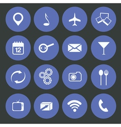 Mediafood and communication icons set flat design vector