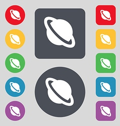 Jupiter planet icon sign a set of 12 colored vector