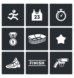 Sports jogging discipline icons set vector