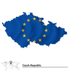 Map of czech republic with european union flag vector