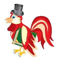Cock in hat with book vector