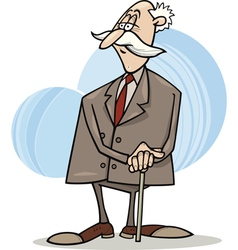 Senior businessman with cane vector