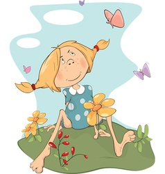 girl on field Cartoon vector image