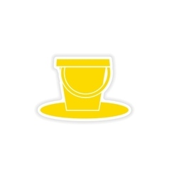Icon sticker realistic design on paper pail vector