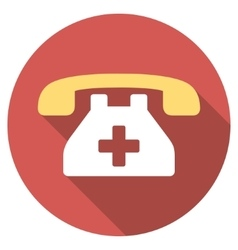 Clinic phone flat round icon with long shadow vector