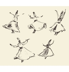 Whirling dervishes mevlana sufi hand drawn sketch vector