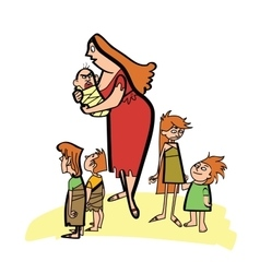 Primitive ancient mother and children vector