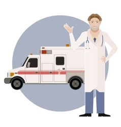 Ambulance and a doctor2 vector