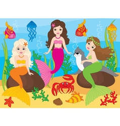 Beautiful Mermaids vector image vector image