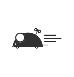 Black icon on white background clockwork mouse toy vector