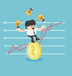 Businessman trying to stand a dollar coin eps10 vector