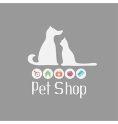 Cat and dog sign for pet shop logo what they vector image vector image