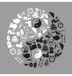 China theme black icons set symbols eps10 vector image