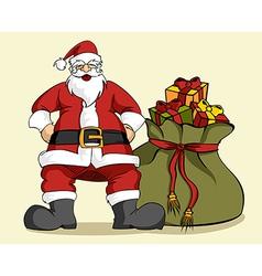 Christmas series santa claus and gifts bag vector