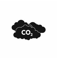 Co2 sign and cloud icon simple style vector