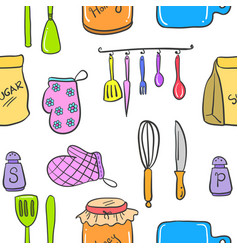 Collection of kitchen set accessories doodles vector