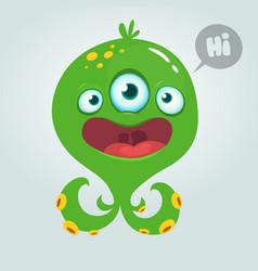 cute alien monster cartoon halloween vector image