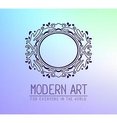 Dark purple color oval frame in modern st vector